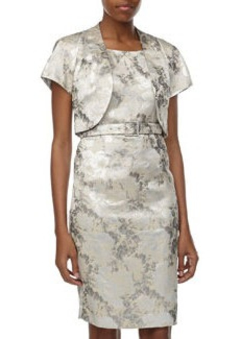 Albert Nipon Floral Jacquard Jacket & Sheath Dress, Silver