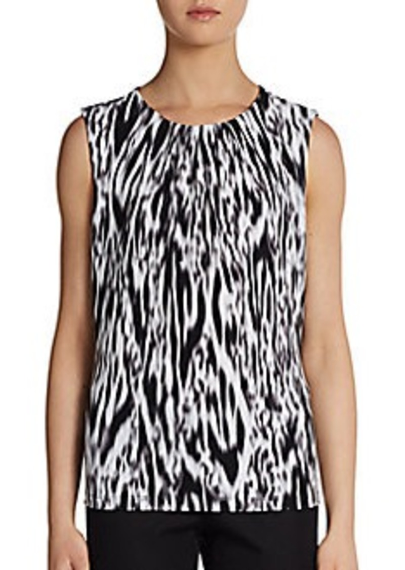 Calvin Klein Printed Pleatneck Top
