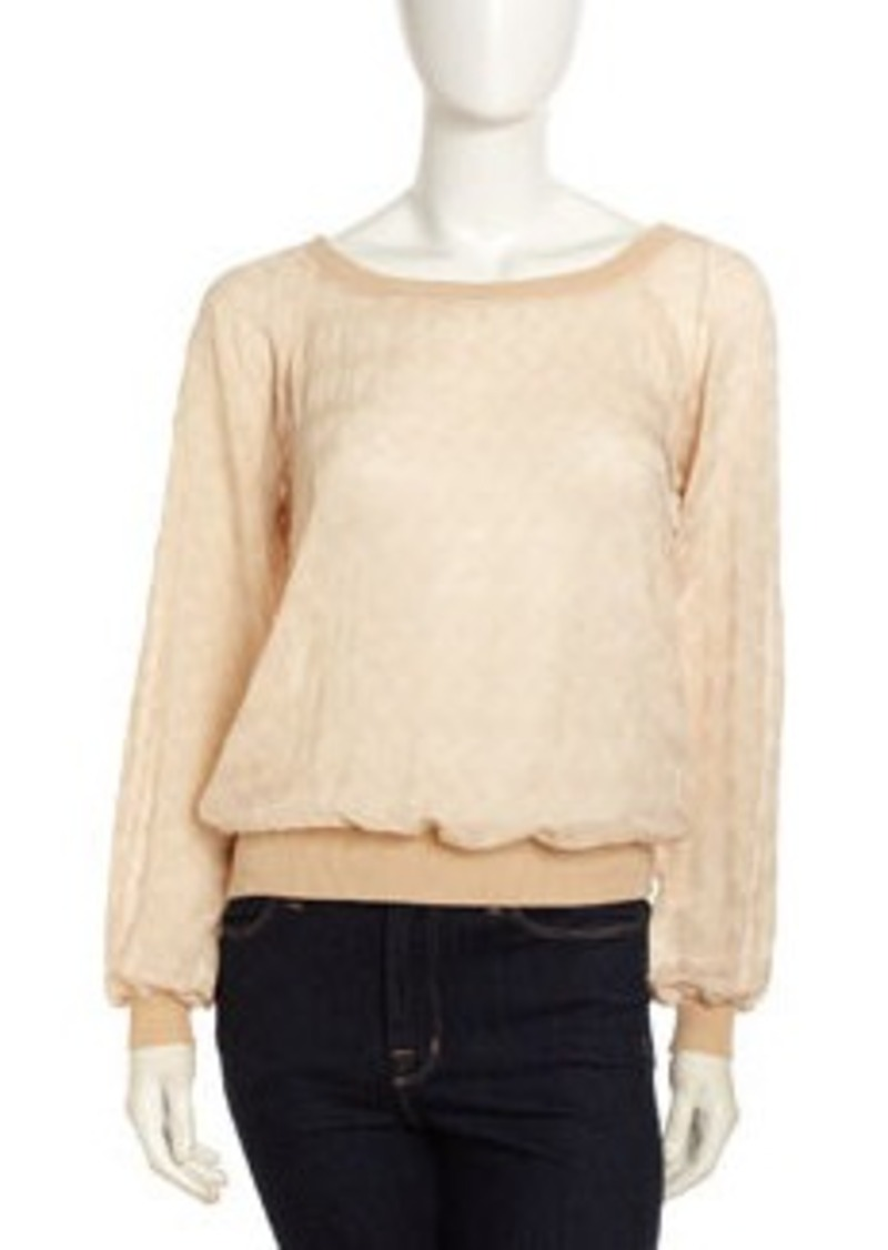 Isaac Mizrahi Sheer Knit Long-Sleeve Sweatshirt, Cream