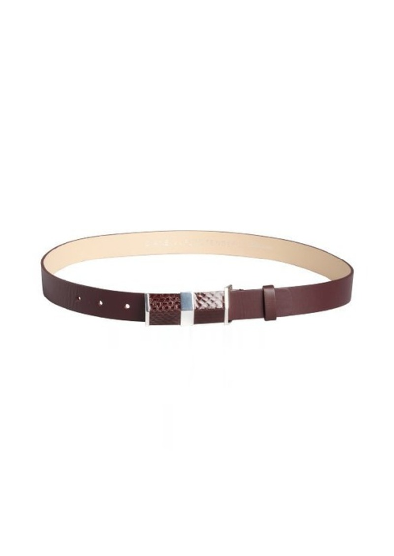Diane Von Furstenberg garnet leather embossed buckle 'Tava' belt