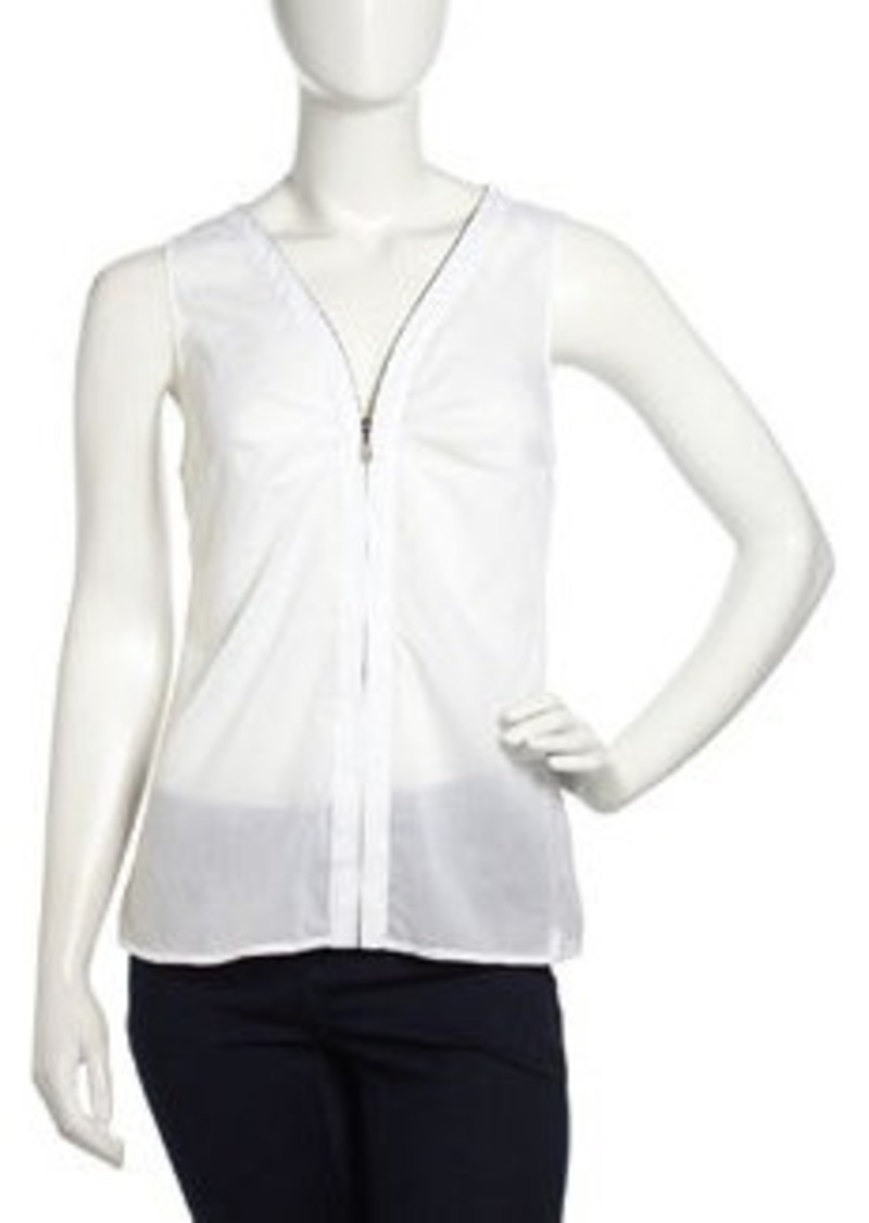 Laundry by Shelli Segal Sleeveless Zip-Front Chiffon Top, Optic White