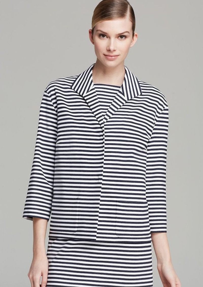 Lafayette 148 New York Striped Wing Collar Topper Jacket