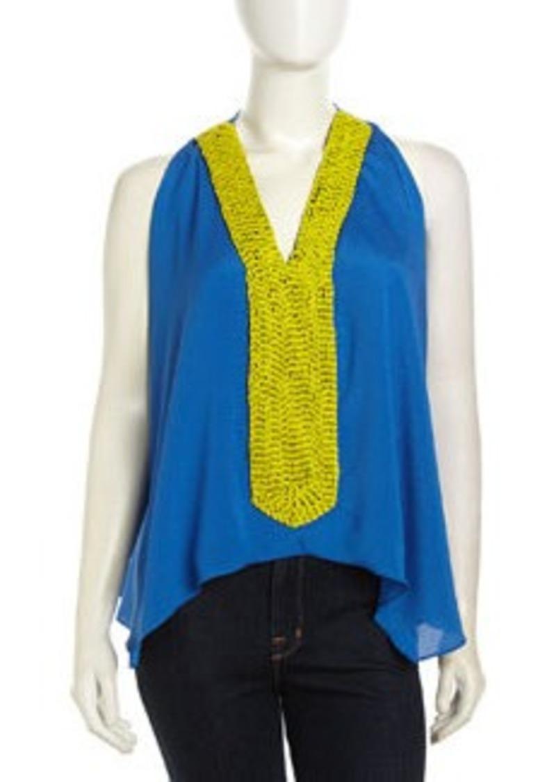 T-Bags T Bags Sleeveless Beaded V-Neck Chiffon Blouse, Royal