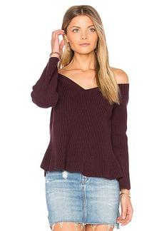 525 america Crop Peplum Sweater in Wine. - size M (also in S,XS)