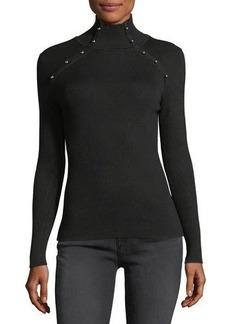 525 America Mock-Neck Embellished Ribbed Sweater