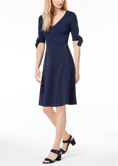 525 America Petite Bow-Sleeve Fit & Flare Dress, Created for Macy's