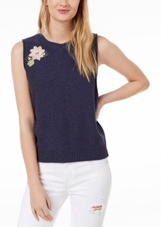 525 America Petite Cotton Blossom Floral-Applique Knit Sleeveless Top, Created for Macy's