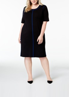 525 America Plus Size Contrasting-Trim Dress, Created for Macy's