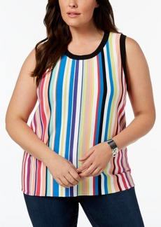 525 America Plus Size Striped Knit Tank, Created for Macy's