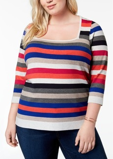 525 America Plus Size Striped Square-Neck Sweater, Created for Macy's