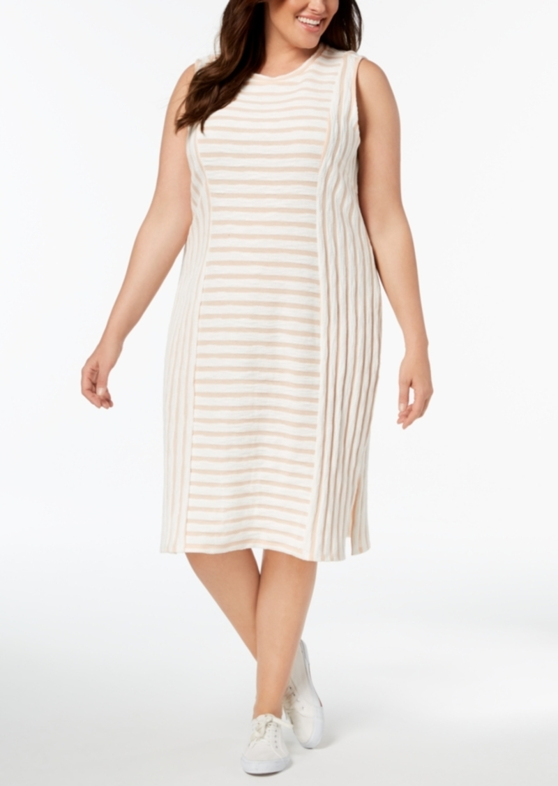 Plus Size Textured-Stripe Midi Dress, Created for Macy\'s