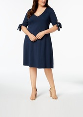 525 America Plus Size Tie-Sleeve Fit & Flare Dress, Created for Macy's