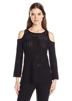 525 America Women's Cotton Pointelle Cut Out Shoulder Sweater  XS