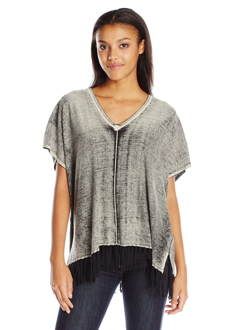 525 America Women's Fringe Poncho Top Spray Dye