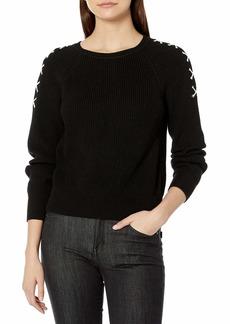 525 America Women's Lace Up Sleeve Crop Shaker Crew Sweater  L