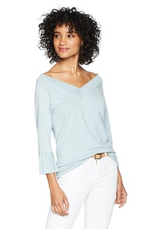 525 America Women's Pleated Ruffle Sleeve V-Neck Sweater