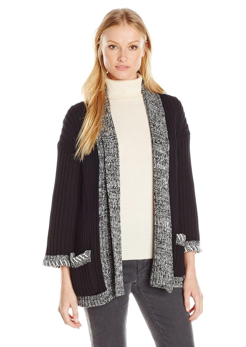525 America Women's Tweed Trim Opne Cardigan  XS