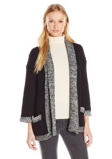 525 America Women's Tweed Trim Opne Cardigan  XS