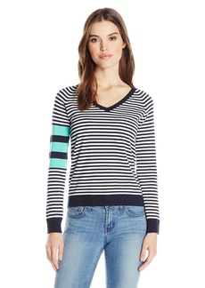 525 America Women's V Neck Stripe Sweater  XS