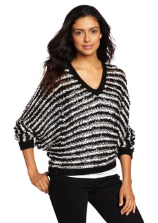 525 America Women's V-Neck Textured Dolman Sweater