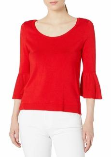 525 America 530 America Women's Scoop Neck with Ruffle Sleeve Sweater