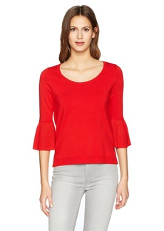 525 America 530 America Women's Scoop Neck with Ruffle Sleeve Sweater