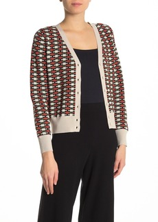 525 America Button Front Print Cardigan