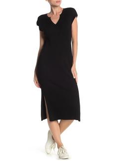 525 America Cap Sleeve Ribbed Knit Midi Dress