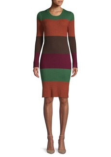 525 America Colorblock Striped Sweater Dress