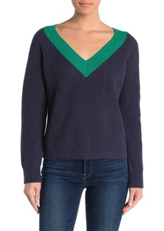 525 America Contrast Neck Cropped V-Neck Sweater