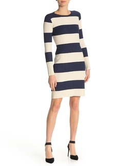 525 America Crew Neck Long Sleeve Stripe Dress