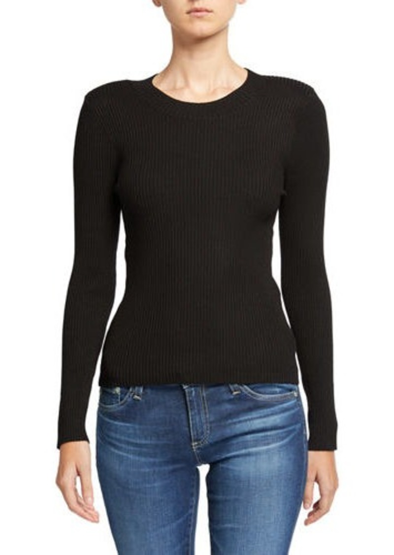 Neiman Marcus Crewneck Long-Sleeve Rib Sweater