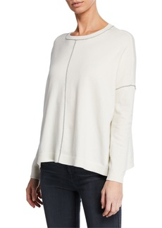 Neiman Marcus Glitter Trim Cotton-Blend Sweater