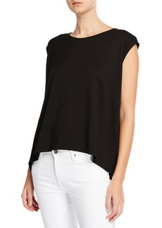 525 America High-Low Micro Terry Draped Top