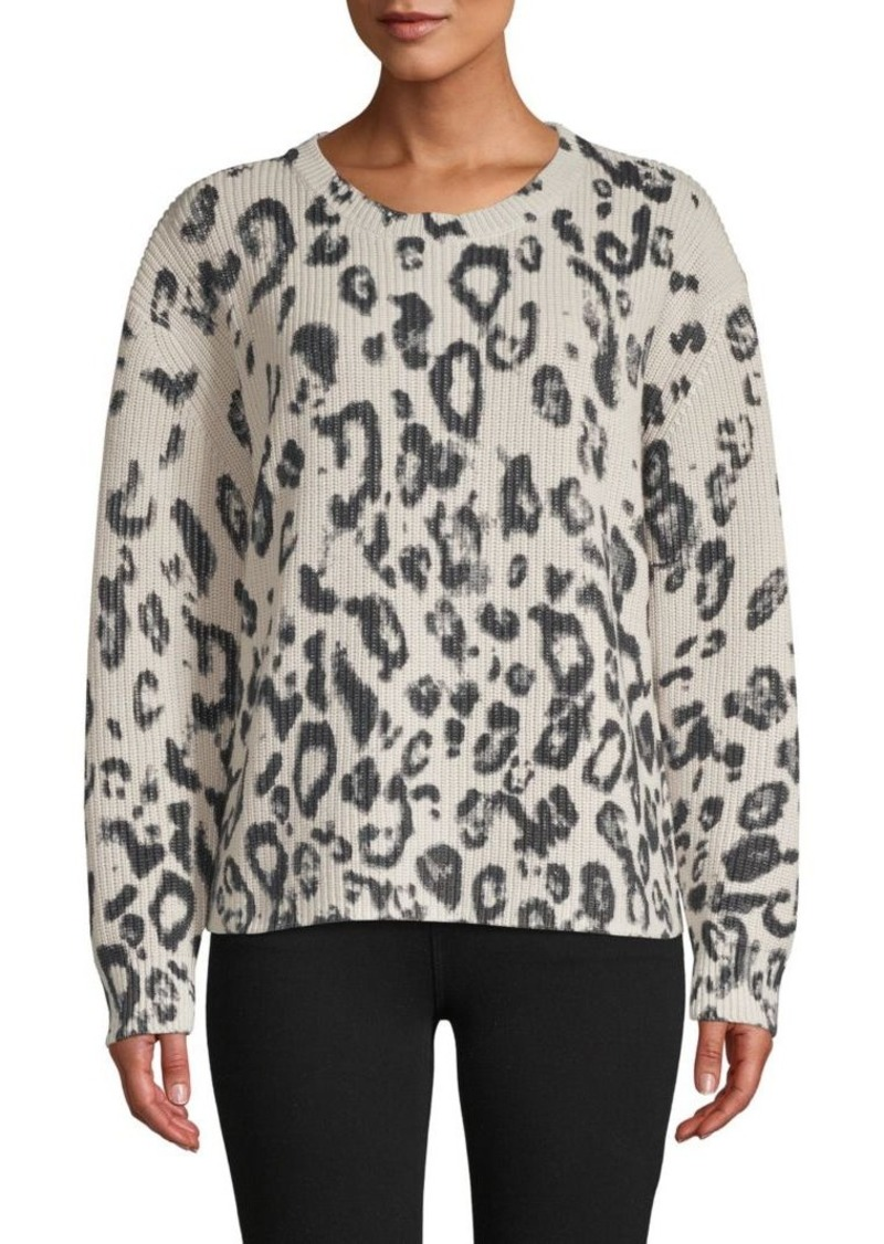 525 America Leopard-Print Cotton Sweater