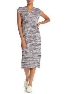 525 America Marled Stripe Split Neck Dress