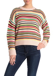 525 America Multi Stripe Textured Crew Neck Sweater