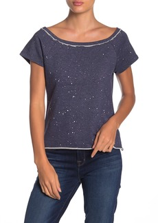 525 America Paint Splatter Boatneck Cap Sleeve Top