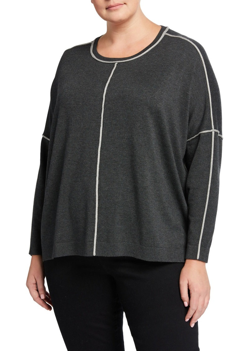 525 America Plus Size Boxy Color Detail Pullover Top