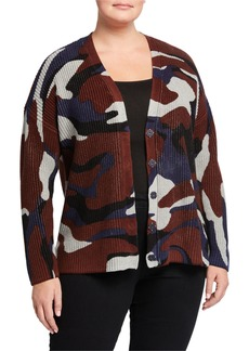 525 America Plus Size Camo Button-Front Cotton Cardigan