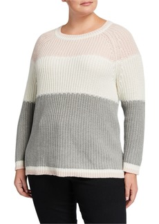 525 America Plus Size Colorblock Crewneck Sweater