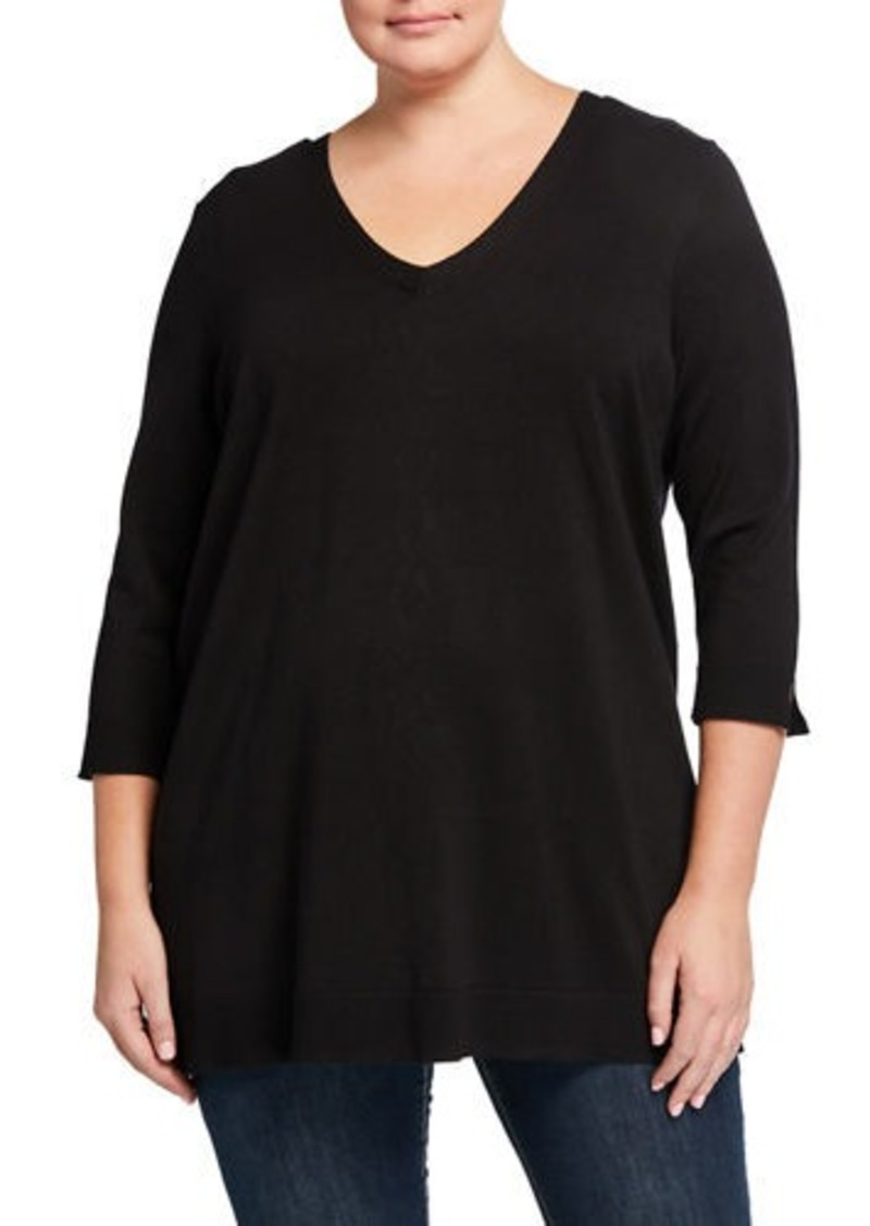 525 America Plus Size Lace-Up Back Top