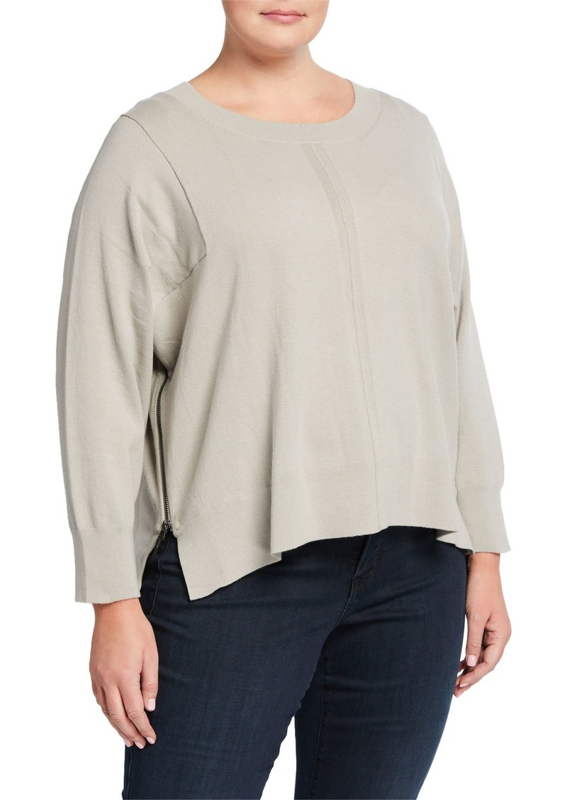 525 America Plus Size Side-Zip Bateau-Neck Sweater