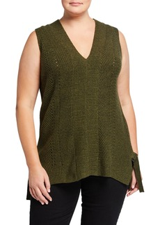 525 America Plus Size Sleeveless V-Neck Shaker Top
