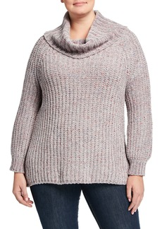 525 America Plus Size Speckled Cowl-Neck Chenille Sweater