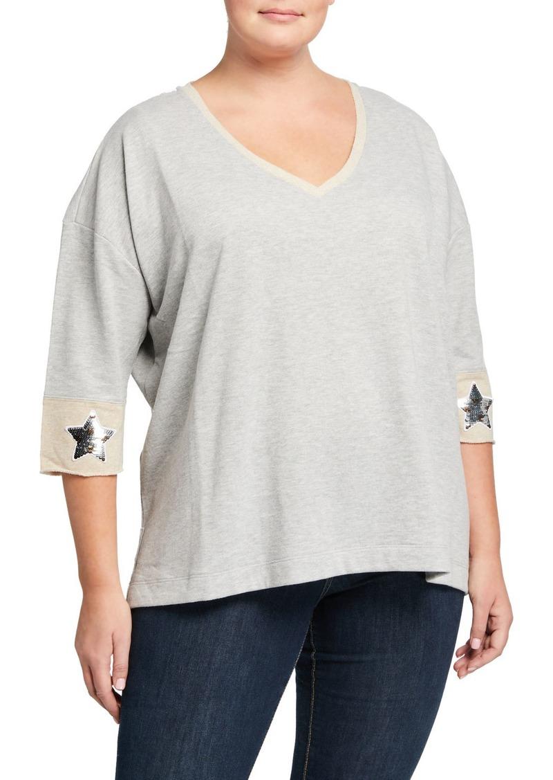 525 America Plus Size V-Neck 1/2-Sleeve Sequin Star Embellished Sweatshirt
