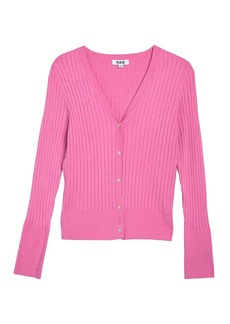 525 America Ribbed Knit Fitted Cardigan