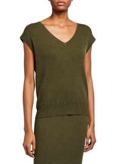 Neiman Marcus Ribbed Knit Short Sleeve Sweater