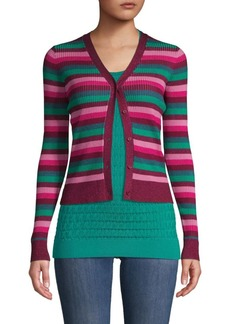 525 America Ribbed Striped Cardigan