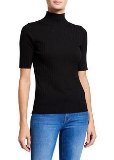 Neiman Marcus Short-Sleeve Turtleneck Rib Sweater